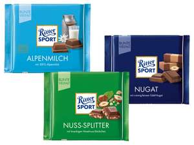 [Lidl] RITTER SPORT Tafelschokolade Bunte Vielfalt für 0,79 €