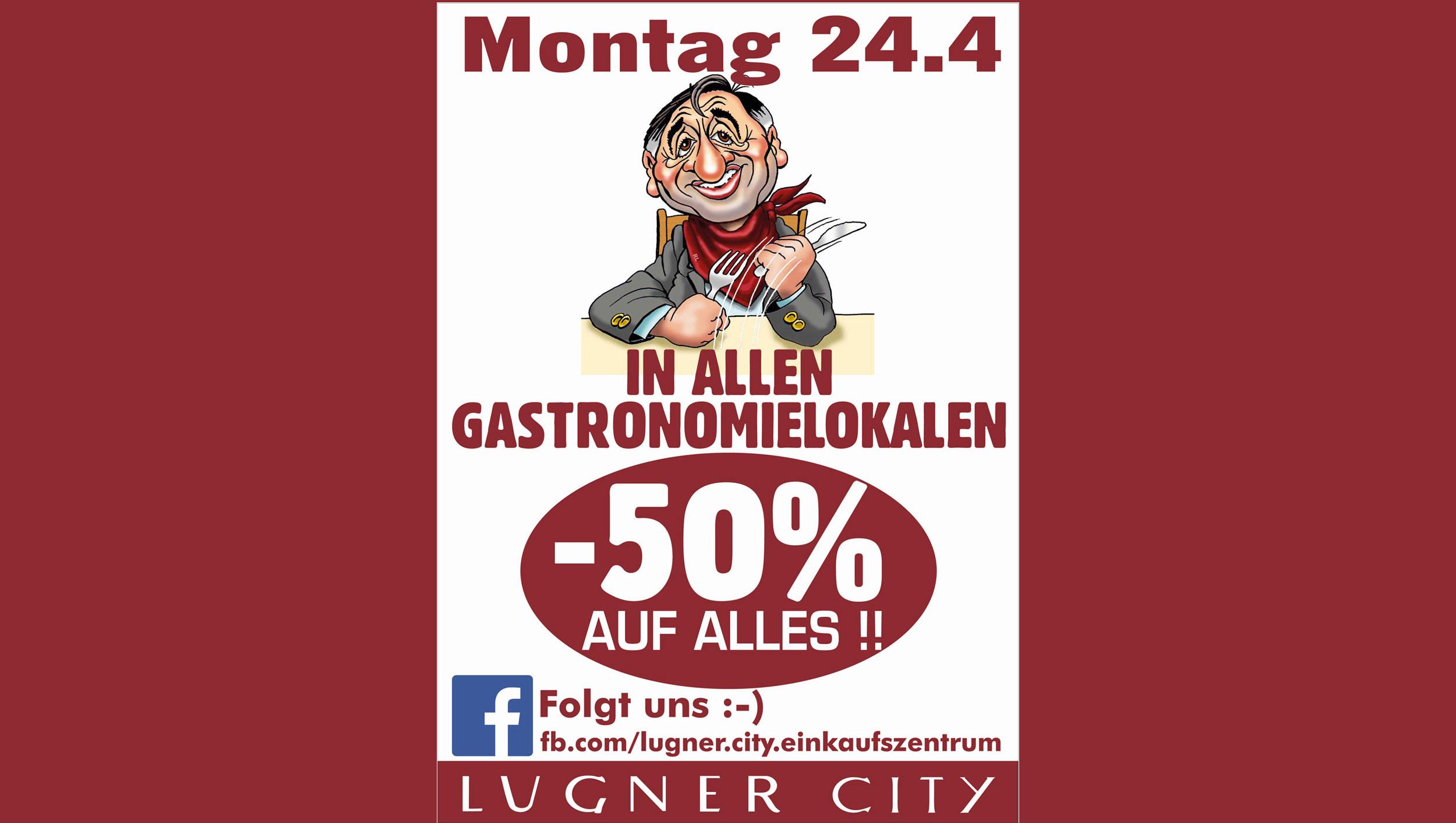 Lugner City: 50% Rabatt in allen Gastronomielokalen – nur am 24. April