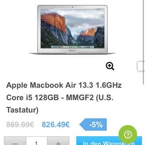 Macbook Air 13.3 1.6 GHz Core i5 128GB MMGF2