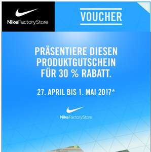 30 % RABATT IN NIKE FACTORY STORES