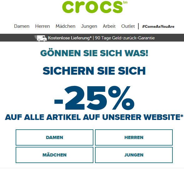 [www.crocs.at = www.crocs.de] 25% Rabatt auf alle Artikel auf der Webseite & Gratis Versand
