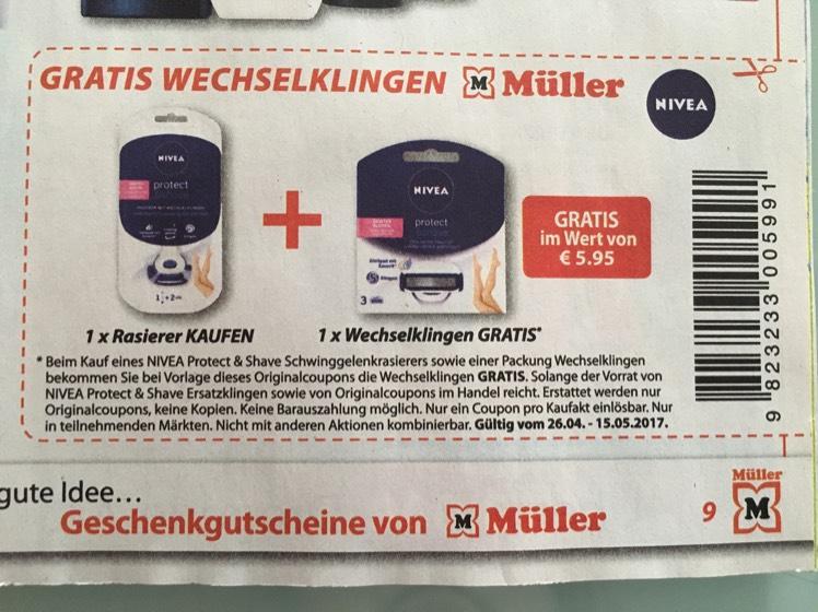 Müller: Beim Kauf von Rasierer - Wechselklinge gratis