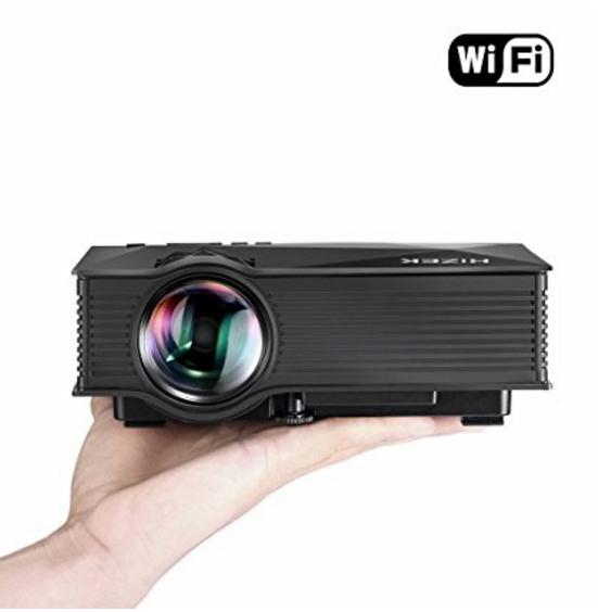 Amazon BlitzWolf WiFi Beamer, Hizek Mini Projektor mit 1200 Lumens LED Multimedia Heimkino Home Cinema Theater für  Laptop / PC / SD Karte / Play Station / TV Box / Xbox / USB Disk (Schwarz)
