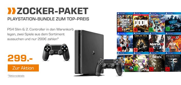Saturn.de: Playstation 4 Slim (500GB) + 2. Controller + 2 Spiele EURER Wahl für 309,94€