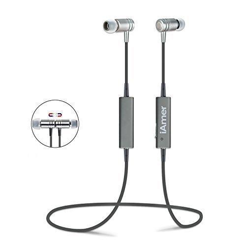 [Amazom] iAmer Magnetische Bluetooth Kopfhörer, Schweißresistent mit Mikrofon  -Grau/Silber