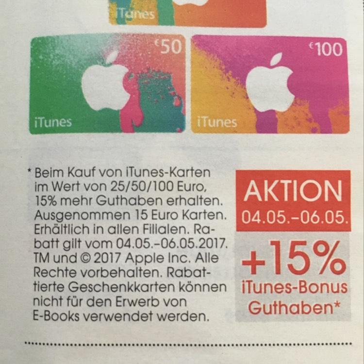 Libro: iTunes Karten mit 15% Bonus Guthaben - von 04.05 bis 06.05