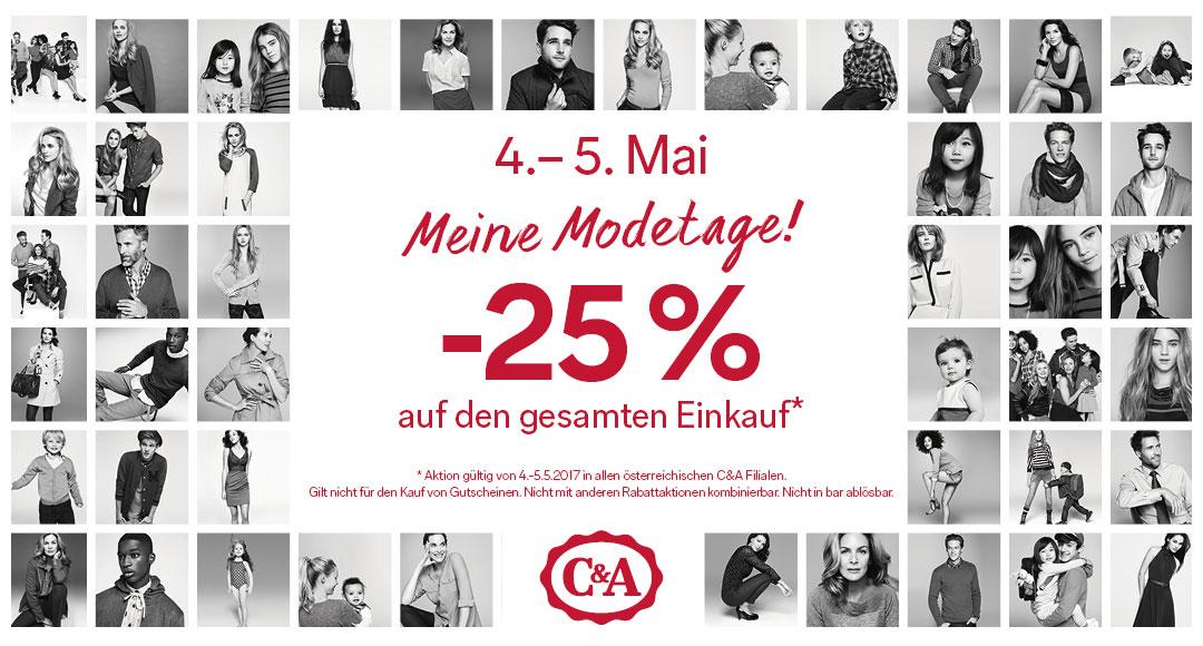 C&A Modetage: 25% Rabatt auf den kompletten Einkauf - nur am 4. und 5. Mai