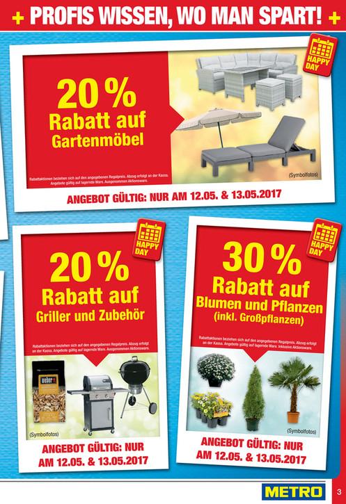 -20% auf Griller & Zubehör;-30% auf Blumen & Pflanzen;-20% auf Gartenmöbel