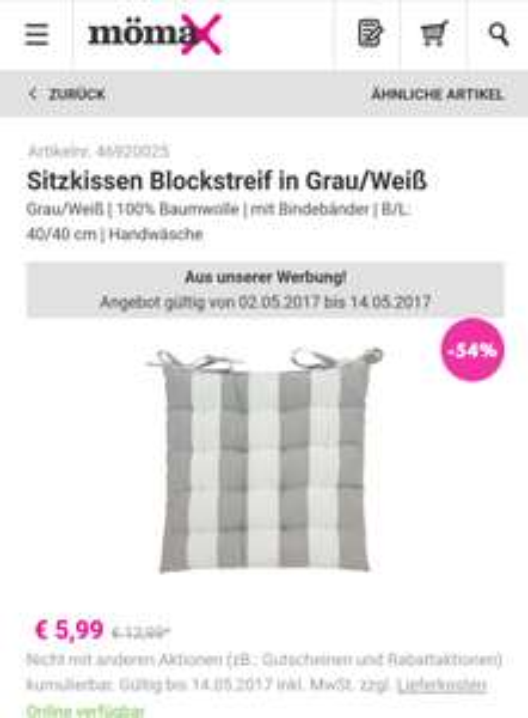 Sitzkissen 40x40cm -54% (Mömax Online und Filiale)