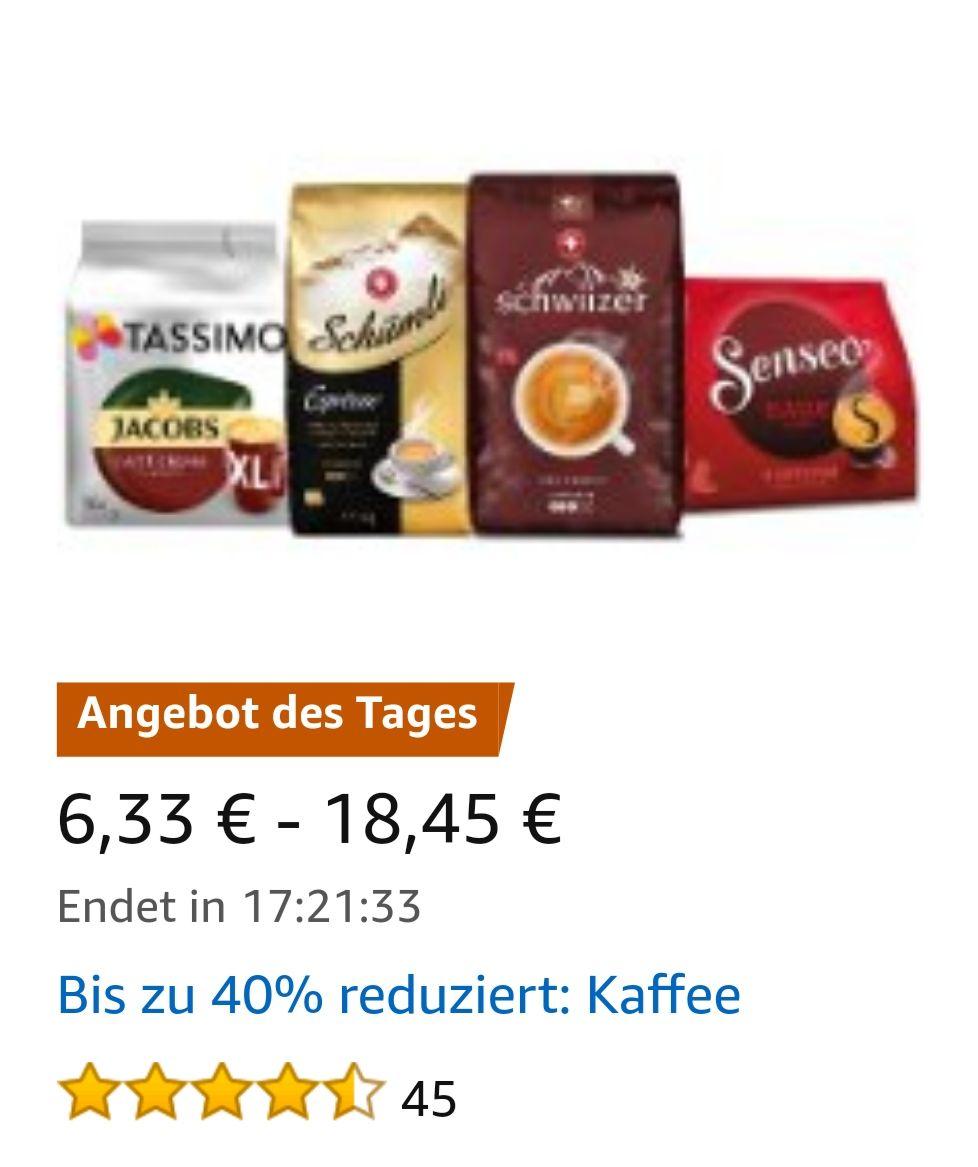 Bei Amazon Kaffee bis zu 40% reduziert