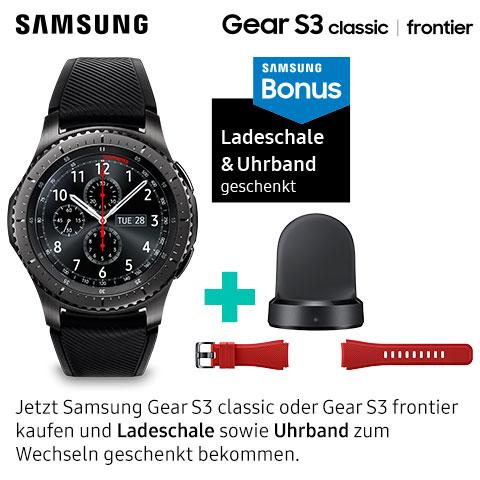 Samsung Gear S3 (€349,-) + GRATIS Armband (€ 20,-) + GRATIS Ladeschale (€ 24,-)