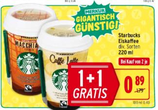 [MerkurMarkt] Starbucks Eiskaffe 1+1 Gratis