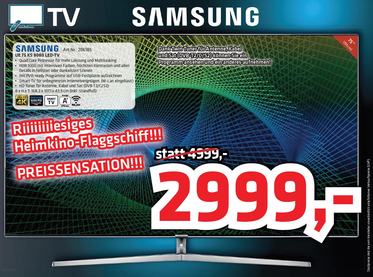 """[Elektro HAAS] SAMSUNG LED 75""""  ->  Super Deal -22% nur € 2999.-"""