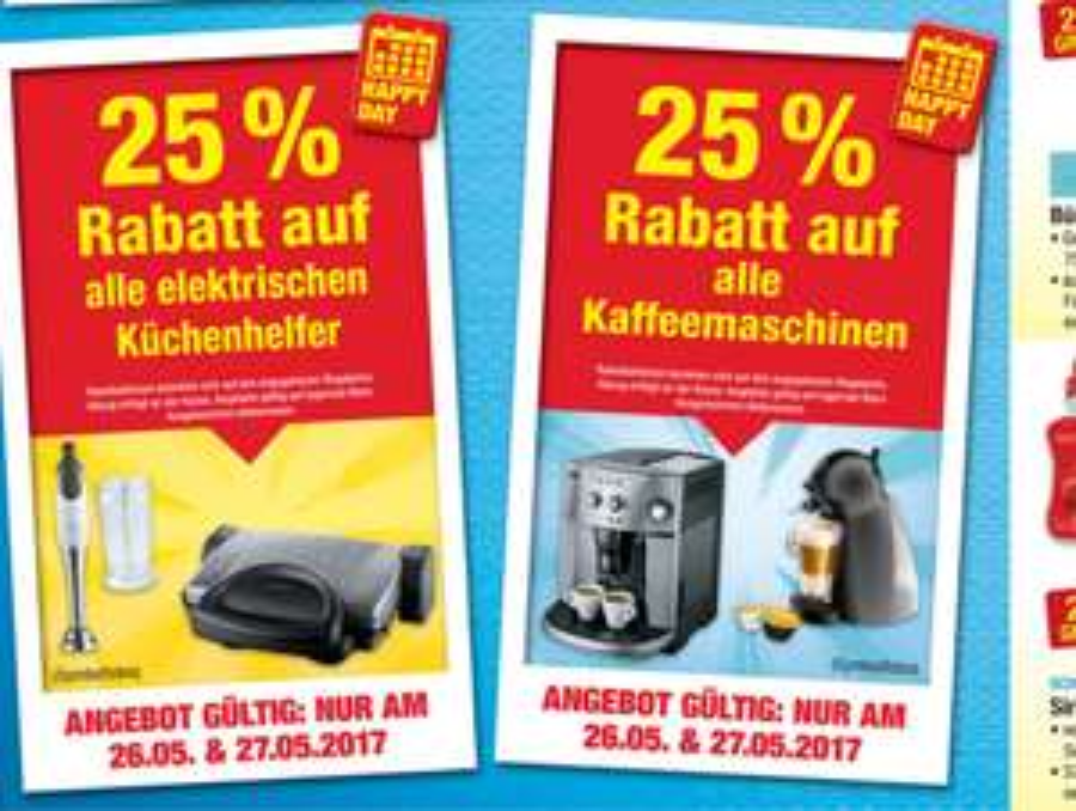 [METRO]Am (26.5 & 27.05) 25% auf alle elektrischen Küchenhelfer und auf alle Kaffeemaschinen