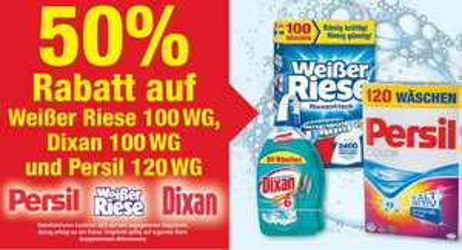 [METRO]50% Rabatt! vom 18.05-31.05 auf Weißer Riese 100Wg,Dixan100Wg und Persil 120Wg.
