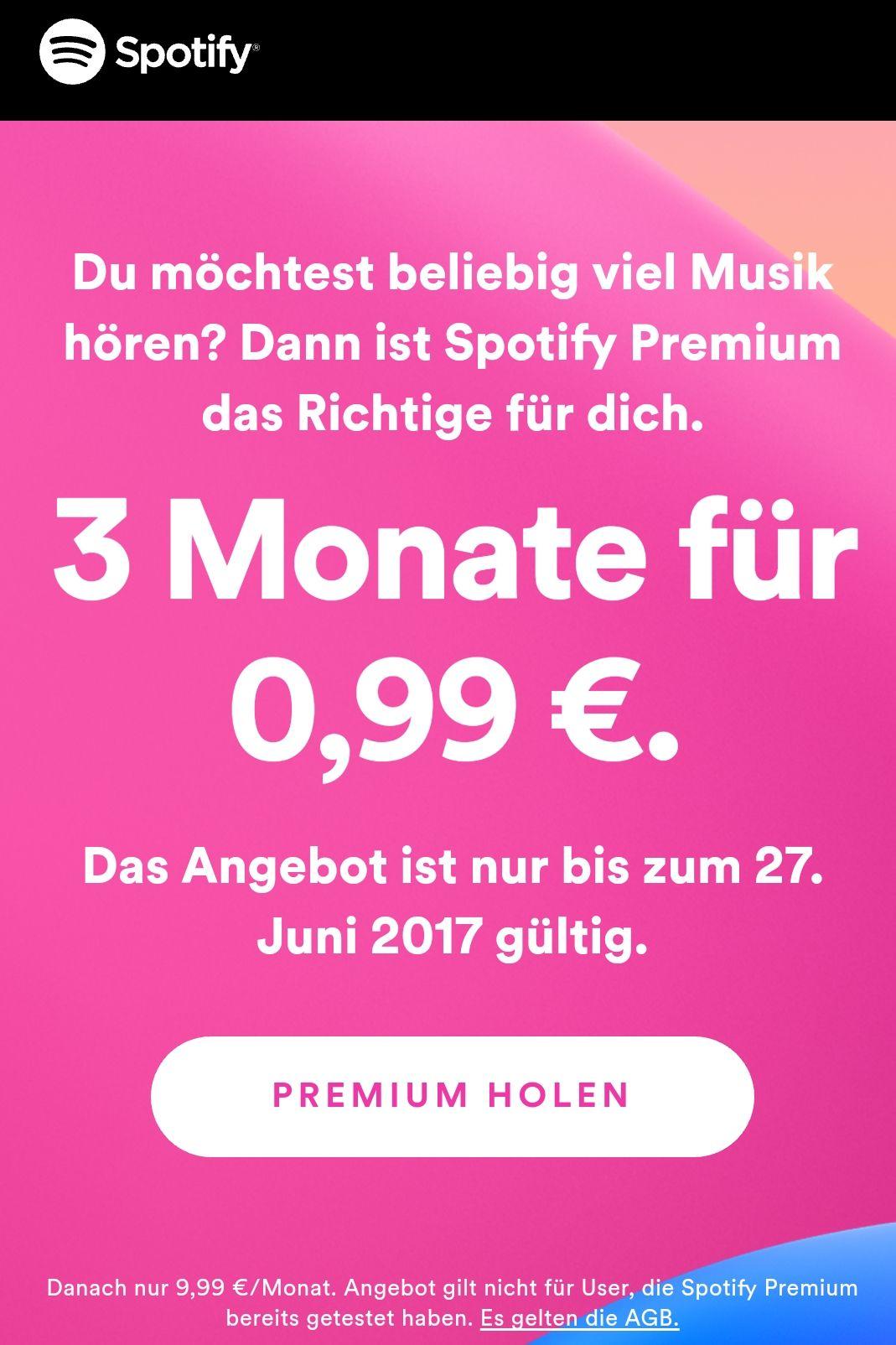 3 Monate Spotify Premium für 99 Cent für Neukunden