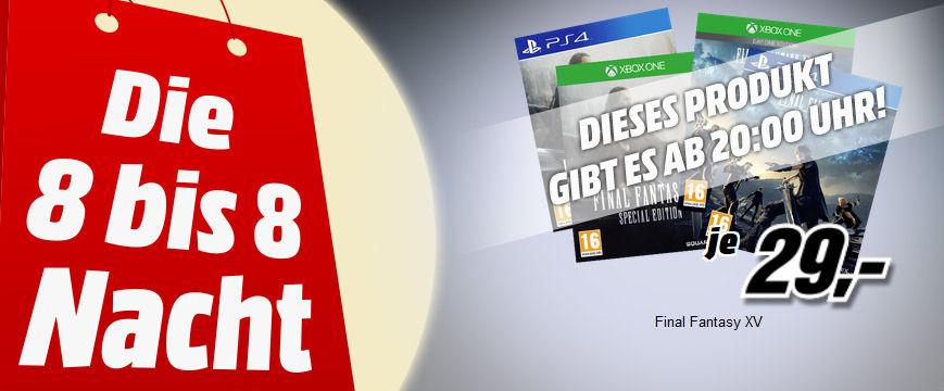 [www.MediaMarkt.at]8 bis 8 Nacht -  Final Fantasy XV Day One Edition/Steelbook Edition Rollenspiel für PS4/XboxOne für € 29,--  Alternativ Libro-Filialen € 29,99
