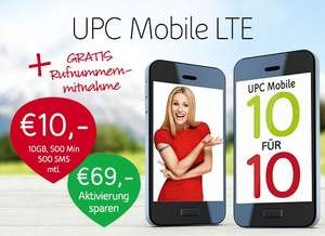 Gratis Rufnummernmitnahme und Gratis Aktivierung bei UPC Mobile