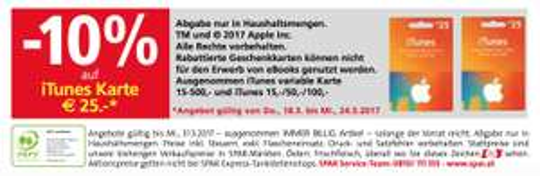 -10% Rabatt auf 25€-iTunes Karte