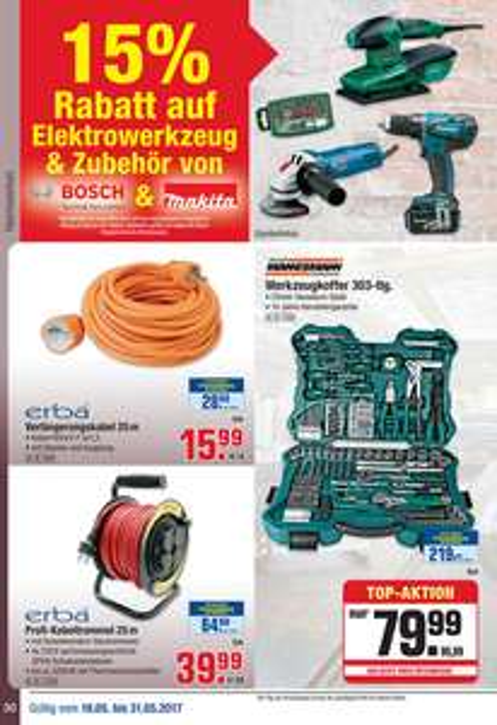 -15% auf Elektrowerkzeug & Zubehör von Bosch & Makita