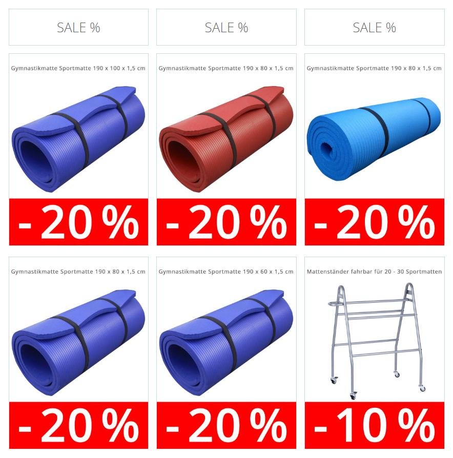 20% Rabatt auf Gymnastikmatten Sportmatten Fittnessmatten  [ohne Versandkosten]