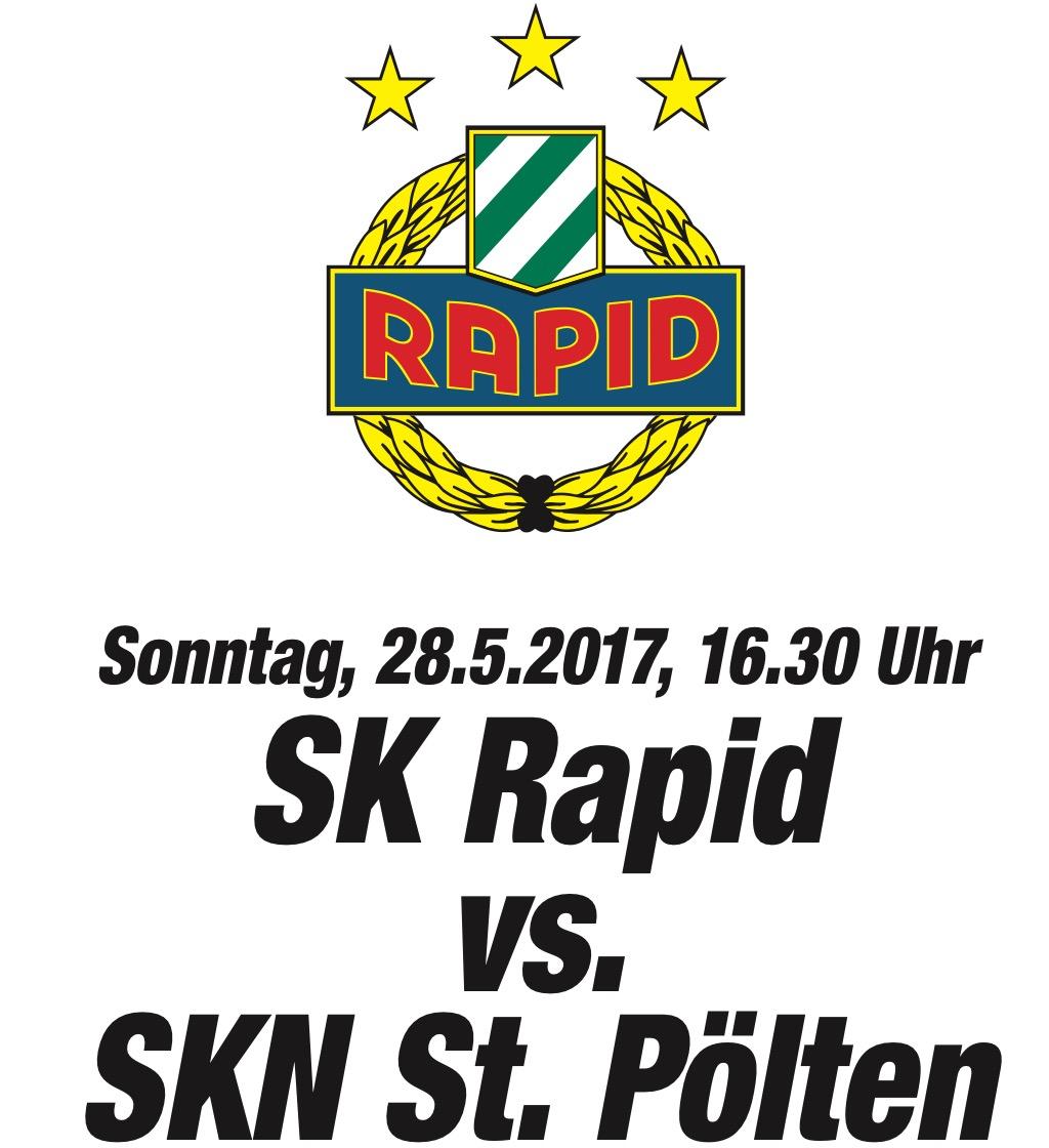 """2x Tickets für """"SK Rapid Wien : SKN St.Pölten"""" um 20 € - 60% - 28.5.2017 (16:30 Uhr)"""