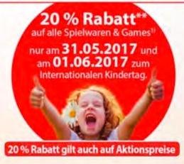 Müller: 20% Rabatt auf Spielwaren und Games - nur am 31. Mai und 1. Juni