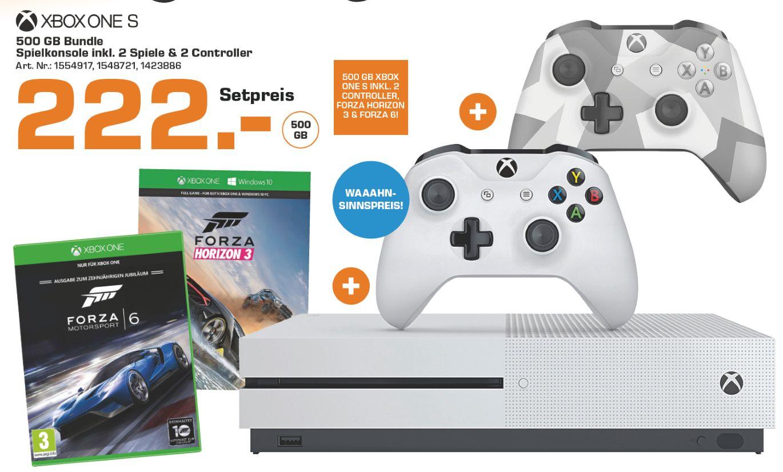 [Lokal Saturn Donau-Zentrum] Microsoft Xbox One S 500GB + Forza Horizon 3 + Forza Motorsport 6 + 2.Controller (Winter Forces) für 222,-€