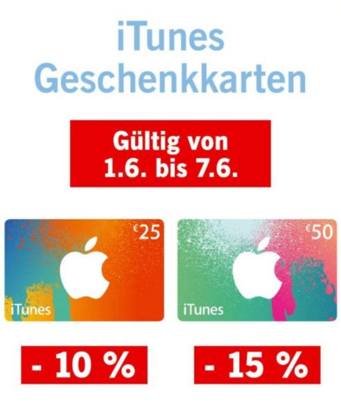 [LIDL] 10% Rabatt auf 25€ bzw 15% auf 50€ iTunes Karten