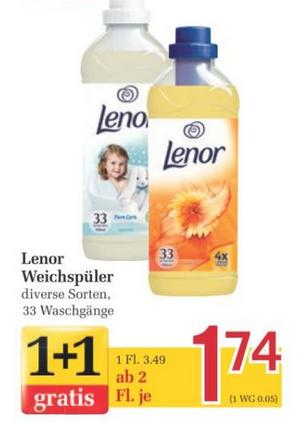 [Billa -> Marktguru] Lenor Weichspüler div. Sorten, 990ml, 2 Flaschen für 1,48€ (0,74€/Flasche) bis Mi, 07.06. - Bestpreis