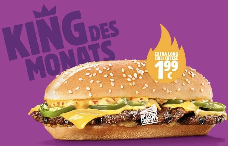 Burger King: Extra Long Chili Cheese um 1,99 €