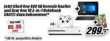 Media Markt: Xbox One S Bundle 500GB weiß + Acer One 10 (S1003-1298) 10,1 Zoll Convertible Notebook für 299€
