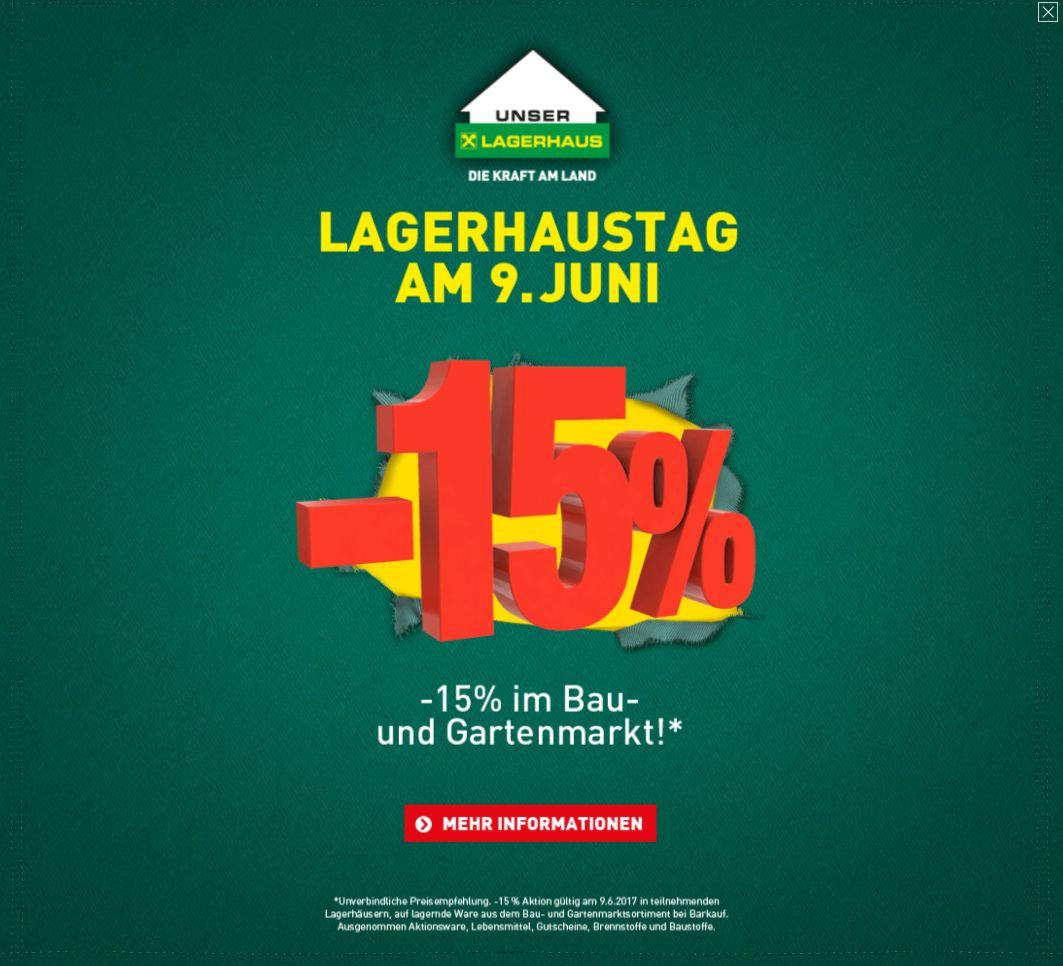 Lagerhaustag am 9. Juni mit -15% Aktion