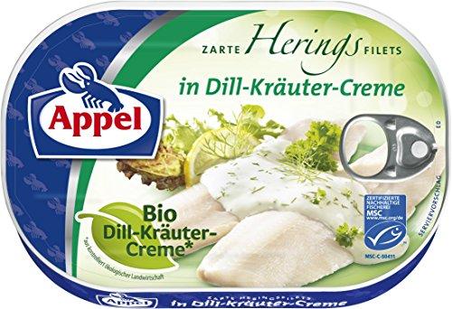 Appel Heringsfilets, zarte Fisch-Filets in Bio-Dill-Kräuter-Creme, MSC zertifiziert, 10er Pack (10 x 200g Dose)