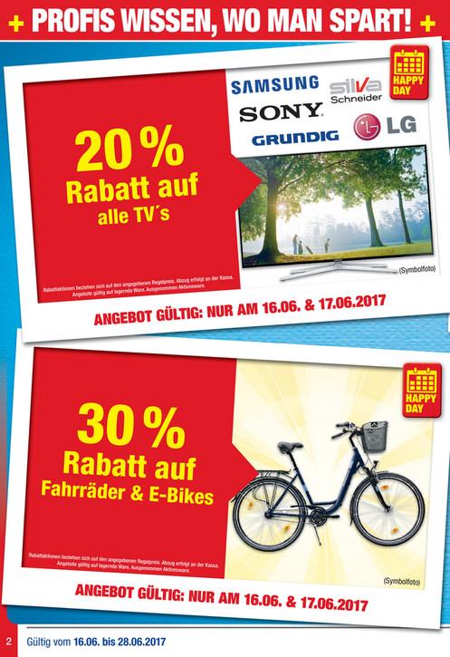 Metro - 20% Rabatt auf alle TV's ; 20% Rabatt auf Griller & Zubehör ; 30% Rabatt auf Fahrräder & E-Bikes ; 25% Rabatt auf Staubsauger