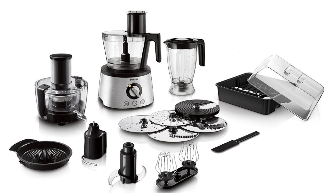 [Amazon.de] Philips HR7778/00 Küchenmaschine (30 Funktionen, Entsafter, 1300 Watt) schwarz/silber
