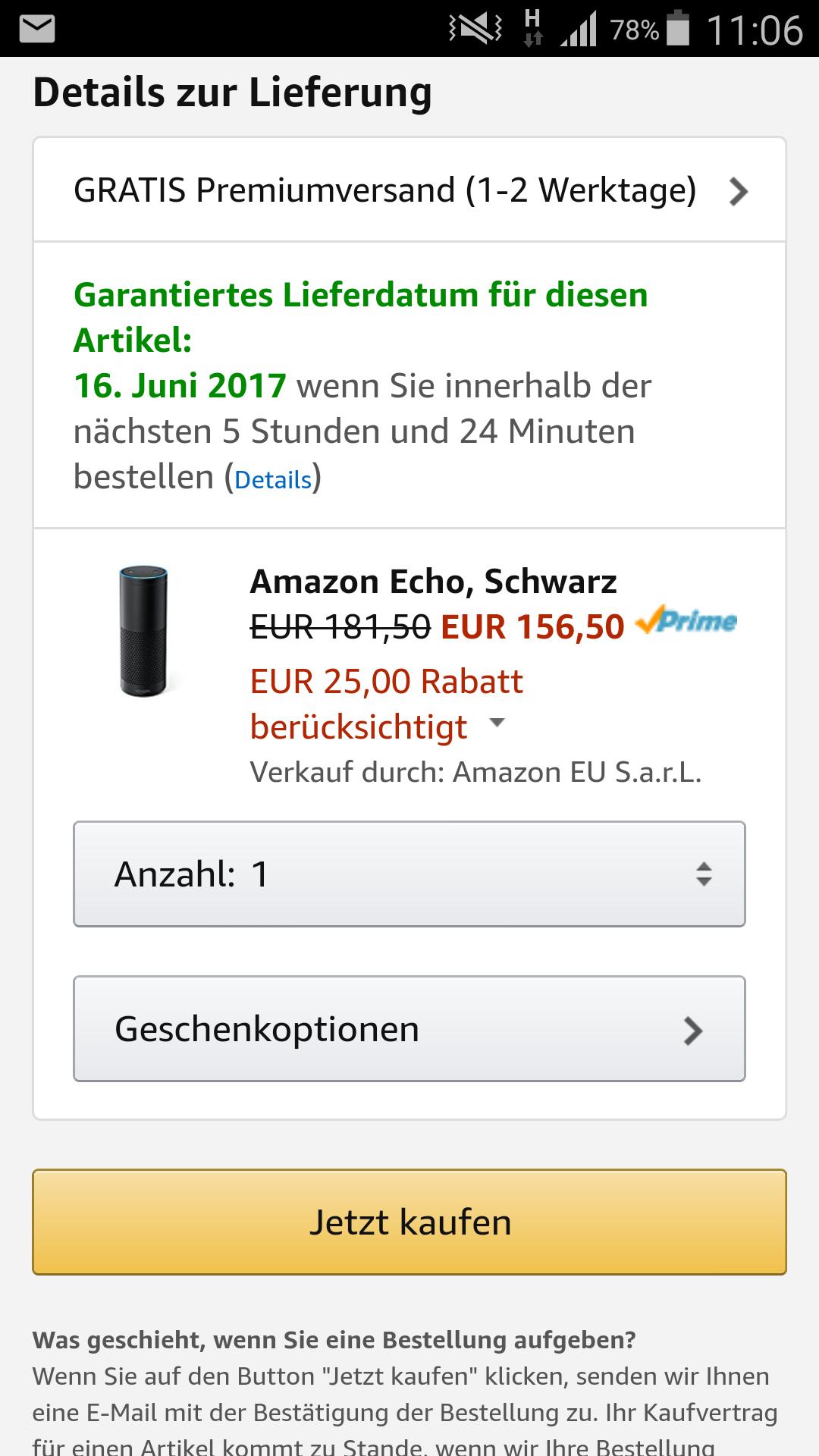 Amazon Echo mit Gutscheincode um 25€ günstiger