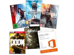 [mediamarkt.at] Office 365 ( 12 Monate) + Battlefield 1 + Fallout 4 + Doom + Mirror's Edge : Catalyst + Battlefront für 44€