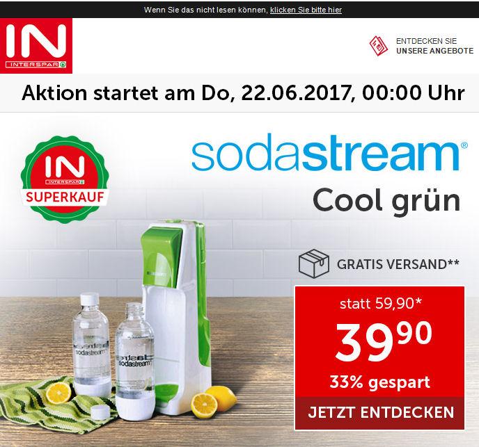 [www.Interspar.at] Heute, 22.06.2016 gibt es den Sodastream Cool grün 2 x 1 Liter  für € 39,90 Online mit Gratis Versand!