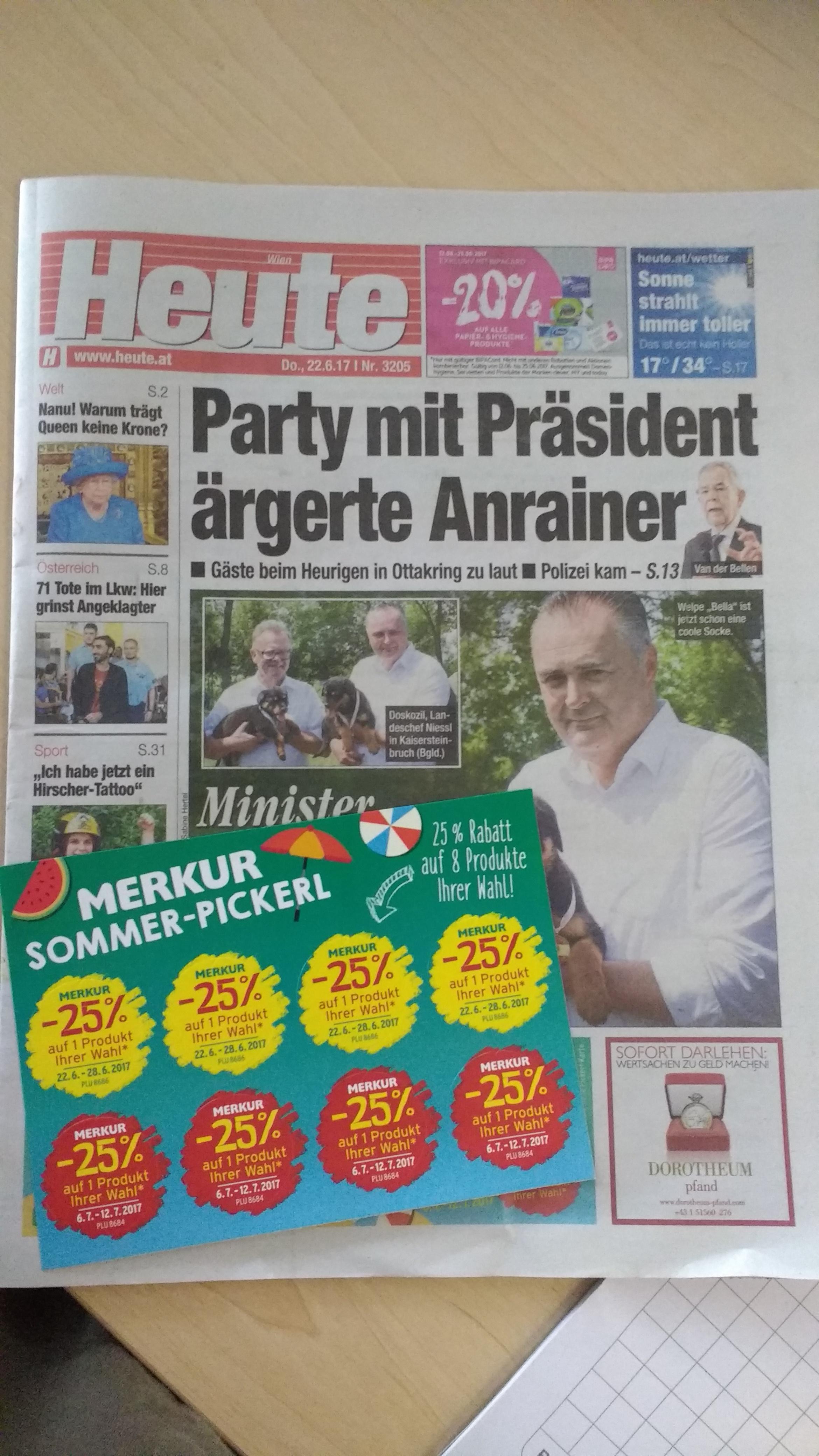 Heute Zeitung: Merkur -25% Rabatt Aufkleber
