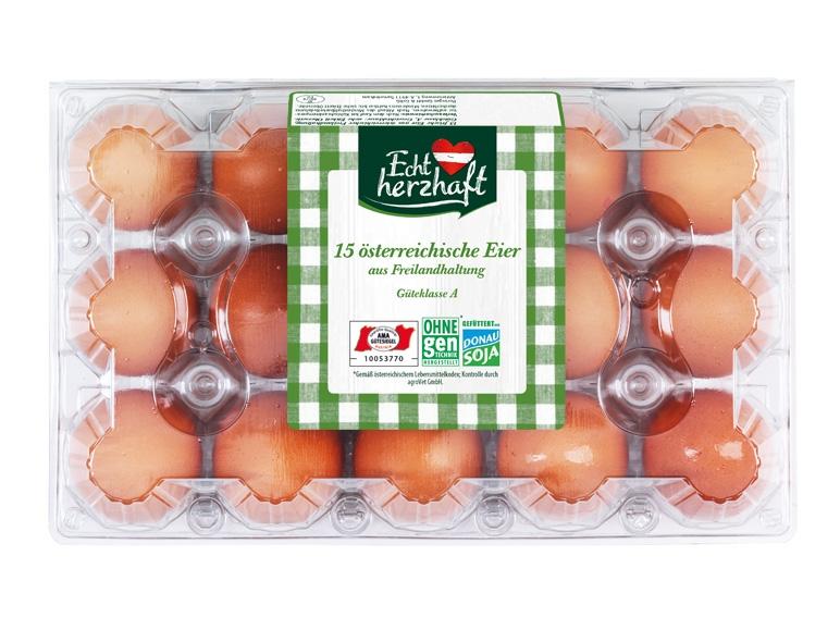 [Lidl] ECHT HERZHAFT 15 österreichische Eier aus Freilandhaltung für 2,29 €