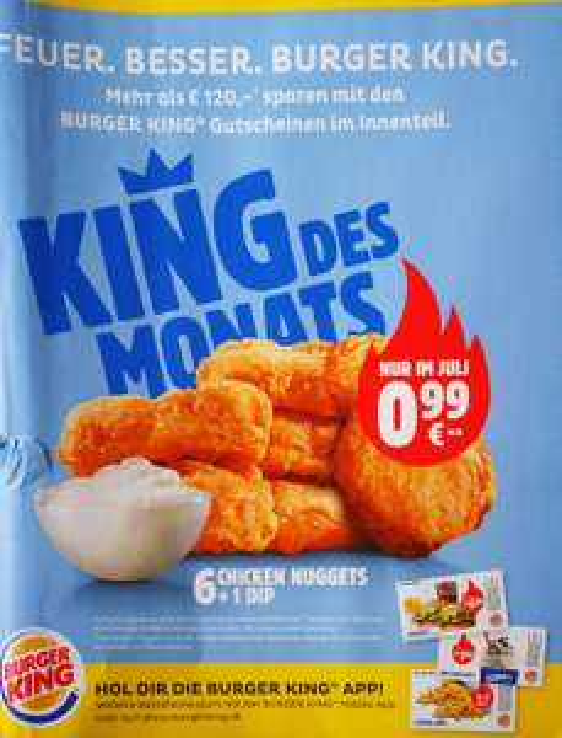 [BK - King des Monats] 6 Chicken Nuggets + 1 Dip um 0,99€