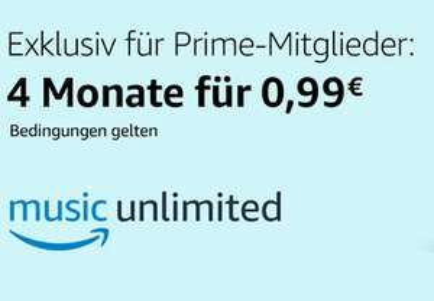 Amazon Music Unlimited: 4 Monate für 0,99€ statt 31,96€ - exklusiv für Prime Mitglieder