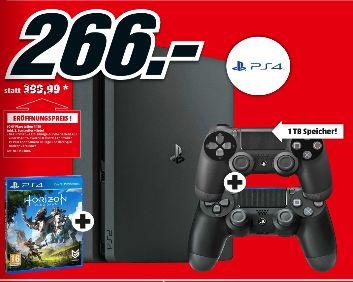 [Lokal Mediamarkt St.Pölten] SONY PlayStation 4 Slim Konsole 1 TB (CUH-2016B) + Horizon Zero Dawn + 2ten Dual Shock Controller für 266,-€