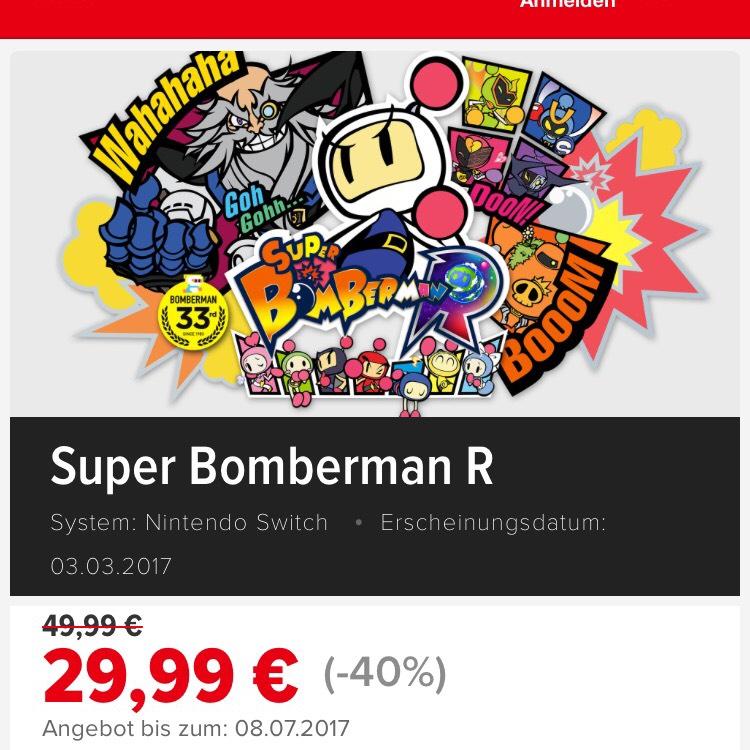 [eShop] Super Bomberman R ( Switch) für 29,99€ bis 08.07.2017 - Neuer Bestpreis