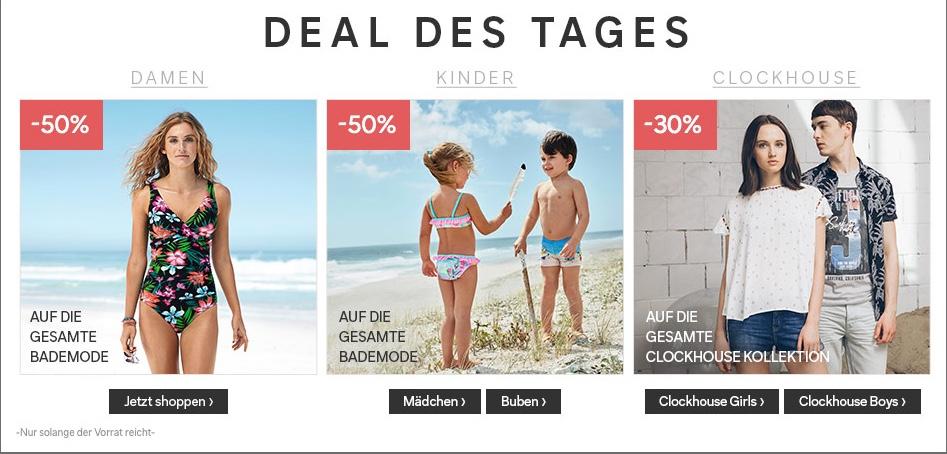 C&A: 30% Rabatt auf Clockhouse + 50% auf Damen und Kinder Bademode + 10% Newsletter-Rabatt