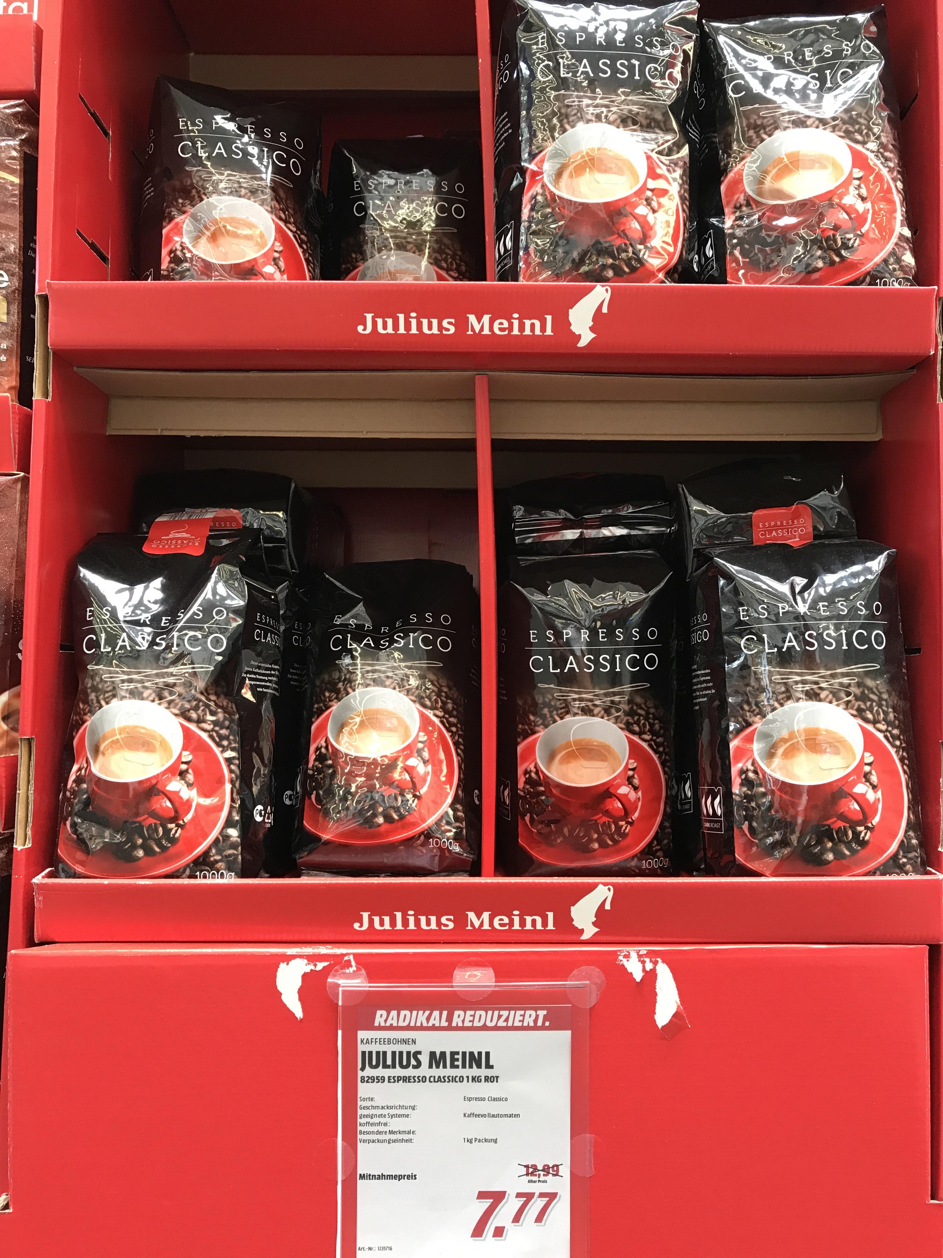 Media Markt SCS Vösendorf: Julius Meinl Espresso Classico (1kg) um 7,77 €