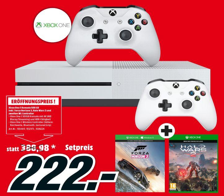 [Lokal Mediamarkt St.Pölten] Microsoft Xbox One S 500GB + Forza Horizon 3 + Halo Wars 2 + 2.Controller für 222,-€
