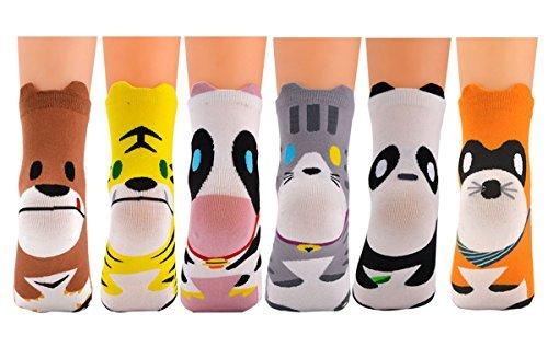 6 Paar Baumwollsocken im Tierdesign Einheitsgröße