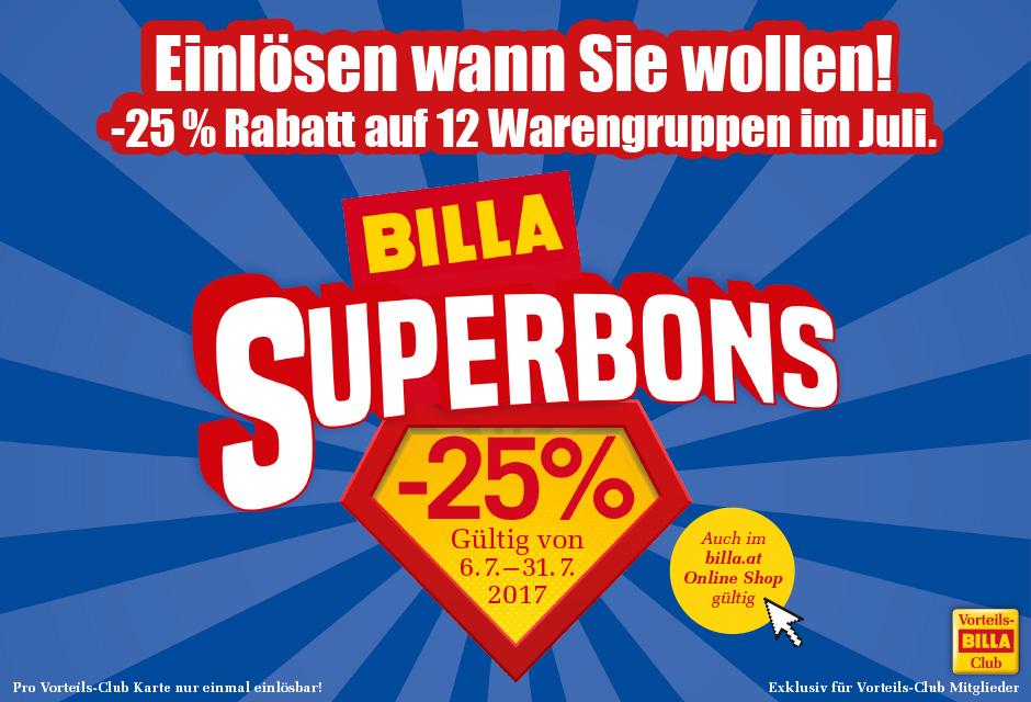 Billa Superbons -25% (exklusiv für Vorteils-Club Mitglieder)